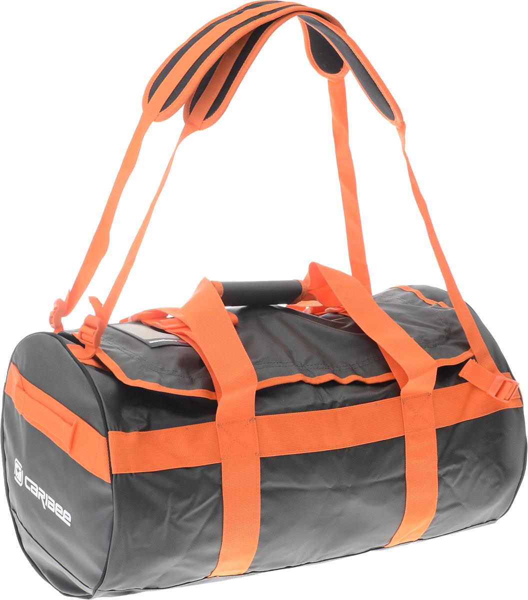 Сумка спортивная Caribee Kokoda, цвет: темно-серый, оранжевый, 65 л58062_темно-серый, оранжевыйСумка Caribee Kokoda имеет стильный дизайн, легкий вес и большую вместительность! Она выполнена из материала, устойчивого к промоканию даже в штормовую погоду. Стойкие к воде молнии. Изделие оснащено регулируемыми плечевыми ремнями, позволяющими превратить сумку в рюкзак. Вшитые по всей окружности стяжки служат для дополнительной прочности. Сумка была разработана с учетом привлекательного вида, практичной функциональности и прочной конструкции. Будьте уверены, что вы доберетесь до места назначения и ваш багаж будет в полной сохранности! Собираясь в поход с такой сумкой, вы можете позволить себе взять все необходимые вещи. Объем: 65 л.