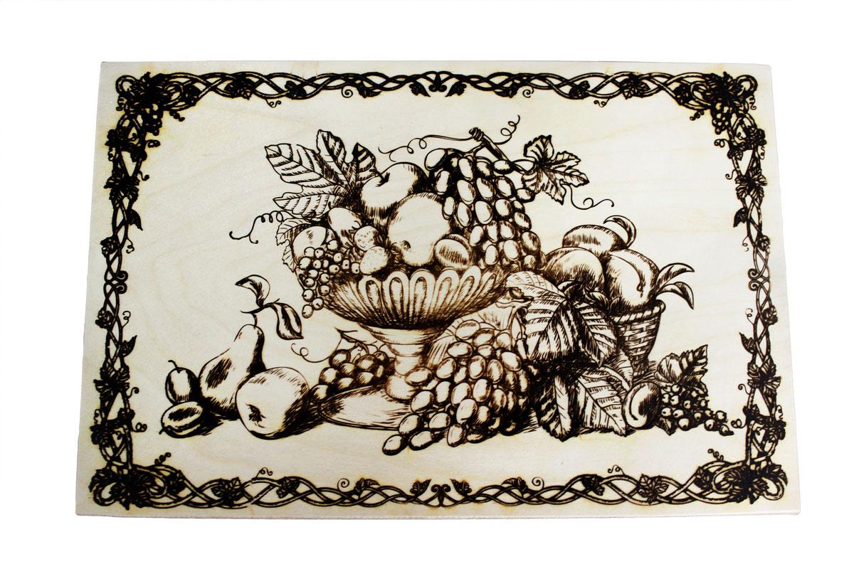 Доска разделочная Натюрморт 37 см х 24,5 см851068Разделочная доска Натюрморт, изготовленная из березы, прекрасно подходит для разделки и измельчения всех видов продуктов. С лицевой стороны изделие декорировано изображением.