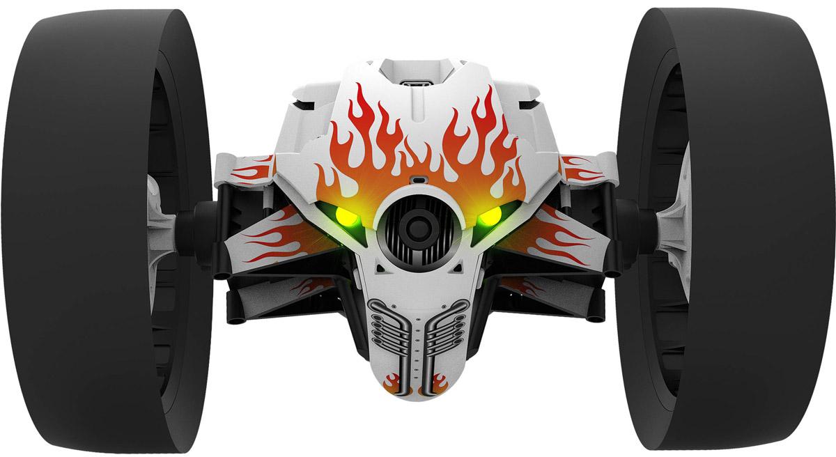 Parrot Вездеход на радиоуправлении MiniDrone Jumping Race JettPF724302Parrot Jumping Race - новое поколение минидронов. Быстрые, энергичные и ультра-стабильные благодаря широким шинам, они предназначены для гонок. А благодаря бортовой камере с разрешением 640x480 пикселей, вы можете следить за передвижениями дрона в реальном времени в видео от первого лица. Испытайте ощущение скорости! Прыгайте, совершайте повороты, устраивайте гонки! Благодаря широким шинам, дроны отлично приспособлены к передвижению на высокой скорости в помещениях и на улице. А его мощный мотор превращает дрон в настоящий маленький гоночный автомобиль, который может разгоняться до скорости 14 км/ч. Удиви друзей невероятной акробатикой Parrot Jumping Race может моментально изменить направление движения на 90° и 180°, а также крутиться вокруг своей оси на одном месте. Все трюки вы делаете, управляя им со смартфона кончиками пальцев. Дрон может совершать вертикальные и горизонтальные прыжки на дистанцию до 75 см, а также расчищать себе ...