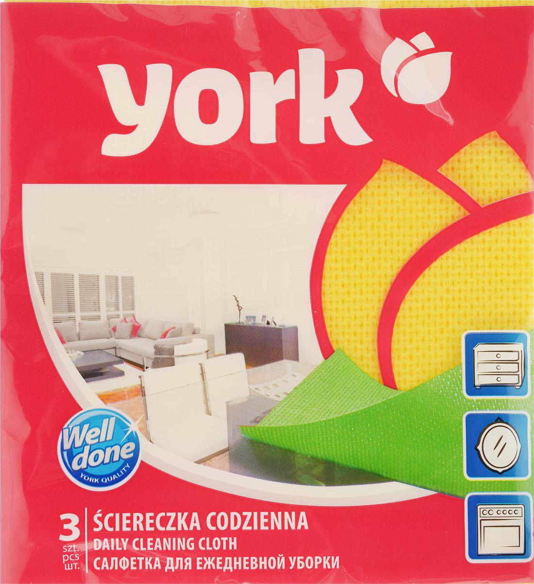 Салфетка для ежедневной уборки York Ламбада, цвет: желтый, 37 х 40 см, 3 шт2106_желтыйУниверсальная салфетка York Ламбада предназначена для мытья, протирания и полировки различных поверхностей. Салфетка, выполненная из вискозы, отличается высокой прочностью. Салфетка хорошо поглощает влагу. Идеальна для ухода за столешницами и раковиной, а также для мытья посуды. Может использоваться в сухом и влажном виде. В комплекте 3 салфетки. Размер салфетки: 37 х 40 см.