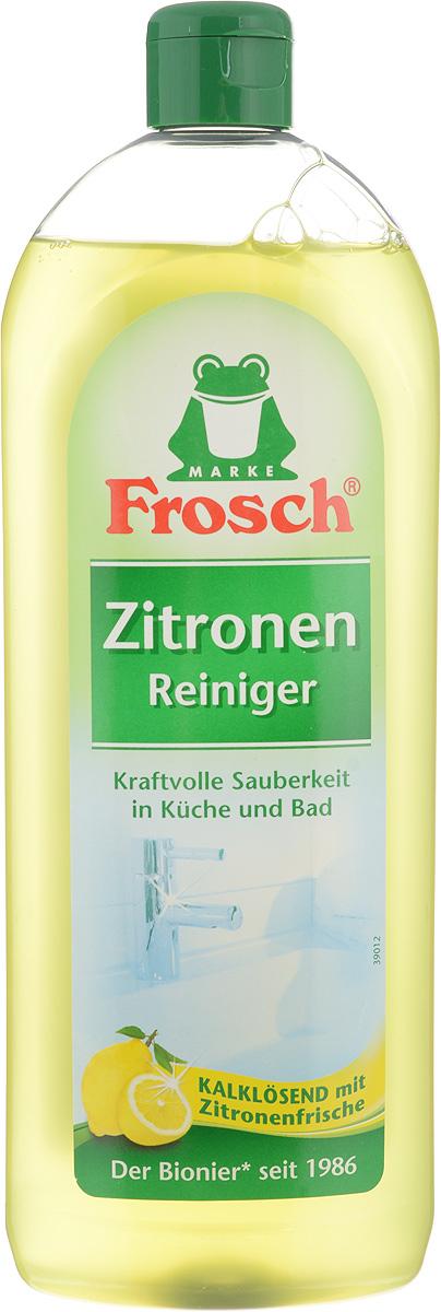 Средство чистящее Frosch, универсальное, с ароматом лимона, 750 мл113264Универсальное чистящее средство Frosch отлично удаляет известковые отложения, следы от жира, воды и мыла на кухне, в ванной и туалете. Средство пригодно для чистки всех видов кафеля, умывальных раковин, кухонной мебели и мебели для ванной. Средство удаляет неприятные запахи и распространяет приятный лимонный аромат. Товар сертифицирован.