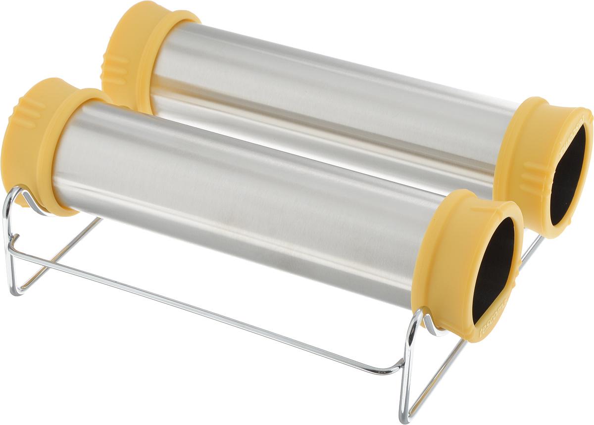 Набор форм для выпечки трубочек Trdelnik Tescoma Delicia, с подставкой, 3 предмета623390Форма для выпечки Tescoma Delicia прекрасно подходит для простого приготовления традиционных чешских домашних трубочек Trdelnik. Две цилиндрические формы с жаростойкими ручками позволяют легко накрутить и раскатать тесто, способствуют его подъему и равномерному выпеканию трубочек. Форма изготовлена из высококачественной нержавеющей стали, ручки - из огнеупорного силикона. Для удобного выпекания предусмотрена подставка из хромированной стали. В комплект входит рецепт для приготовления трубочек. Такие формы станут полезным приобретением для всех любителей оригинальной домашней выпечки. Можно мыть в посудомоечной машине. Размер формы: 6 х 22 х 6 см. Размер подставки: 20 х 20 х 5,5 см.