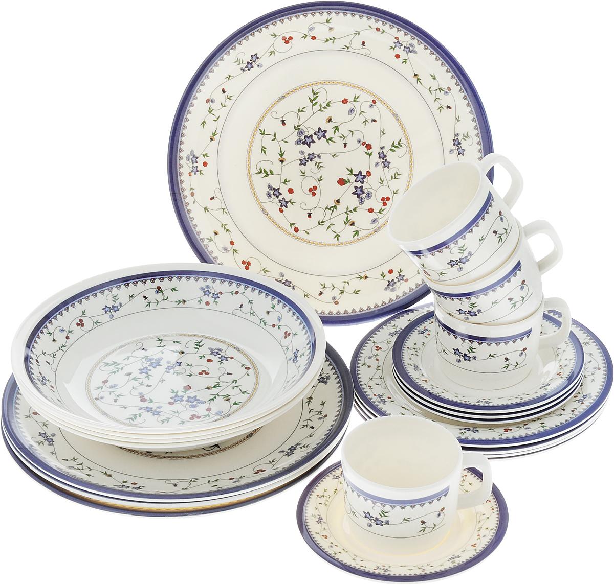 Набор столовой посуды Calve, 20 предметов. CL-2514CL-2514Набор Calve состоит из 4 суповых тарелок, 4 обеденных тарелок, 4 десертных тарелок, 4 блюдец и 4 чашек. Изделия выполнены из высококачественного пластика, имеют яркий дизайн с изящным орнаментом. Посуда отличается прочностью, гигиеничностью и долгим сроком службы, она устойчива к появлению царапин. Такой набор прекрасно подойдет как для повседневного использования, так и для праздников или особенных случаев. Набор столовой посуды Calve - это не только яркий и полезный подарок для родных и близких, а также великолепное дизайнерское решение для вашей кухни или столовой. Диаметр суповой тарелки (по верхнему краю): 23 см. Высота суповой тарелки: 4,5 см. Диаметр обеденной тарелки (по верхнему краю): 26,5 см. Высота обеденной тарелки: 1,7 см. Диаметр десертной тарелки (по верхнему краю): 20 см. Высота десертной тарелки: 1,2 см. Диаметр блюдца (по верхнему краю): 14,6 см. Высота блюдца: 1,5 см....