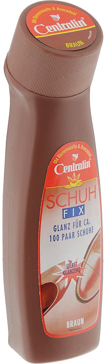 """Глянец для кожаной обуви """"Centralin"""", с губкой для нанесения, цвет: коричневый, 75 мл 258071"""