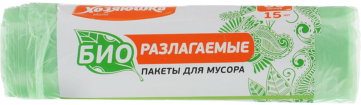 "Пакеты для мусора ""Хозяюшка Мила"", биоразлагаемые, цвет: зеленый, 60 л, 15 шт 07026"