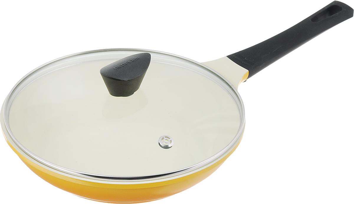 Сковорода Frybest Rainbow с крышкой, с керамическим покрытием, цвет: желтый. Диаметр 26 см. CA-F26CA-F26GКСковорода Frybest Rainbow изготовлена по новейшей технологии из литого алюминия с керамическим антипригарным покрытием Ecolon, в производстве которого используются природные материалы безопасные для здоровья. Благодаря специальному утолщенному дну сковорода равномерно распределяет тепло. Непревзойденная прочность сковороды и устойчивость к царапинам позволяет использовать металлические аксессуары при приготовлении пищи, а эргономичная удлиненная ручка с силиконовым покрытием soft-touch имеет оригинальное технологическое крепление к телу сковороды и всегда остается холодной. Прозрачная крышка, выполненная из термостойкого стекла с клапаном для выпуска пара, позволяет следить за процессом приготовления пищи. Изделие можно использовать на газовых, электрических и стеклокерамических плитах. Не подходит для индукционных плит. Можно мыть в посудомоечной машине. Диаметр (по верхнему краю): 26 см. Высота стенки: 5,5...
