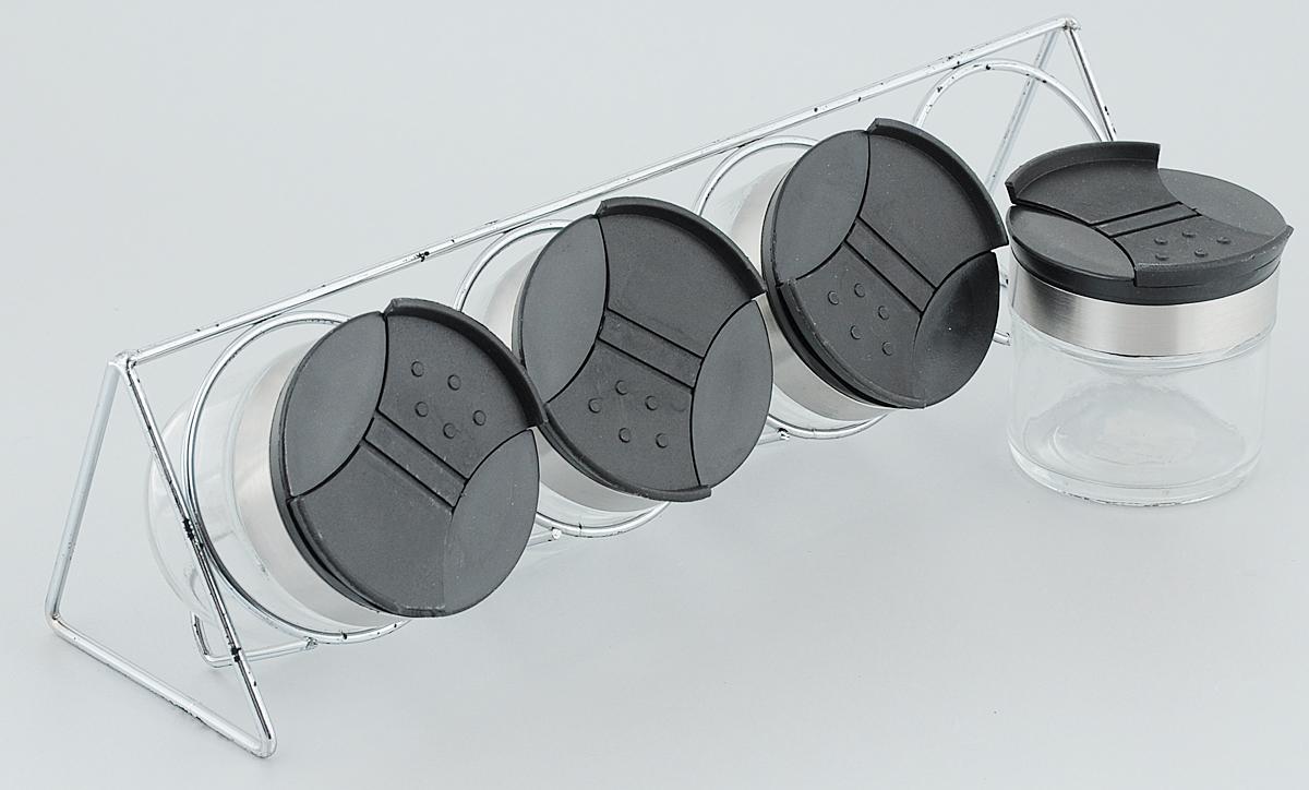 Набор для специй Amadeus, на подставке, 5 предметов14ZB-4009Набор для специй Amadeus, изготовленный из стекла, состоит из четырех емкостей и подставки для них. Пластиковые крышки с элегантным стальным ободком имеют два открывающихся отверстия. Диаметр емкости: 5,5 см. Высота емкости (с учетом крышки): 6,5 см. Размер подставки: 29,5 х 8 х 8 см.