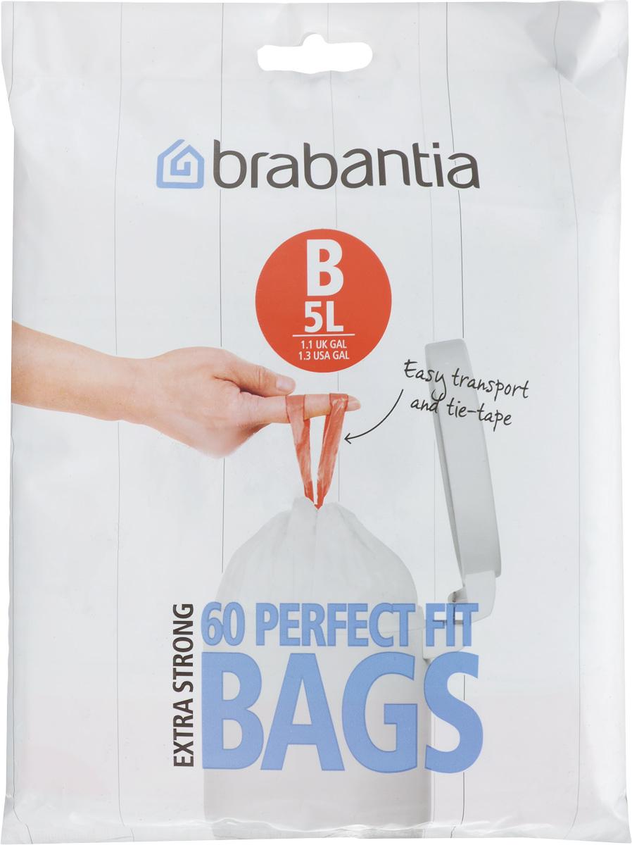 Пакеты для мусора Brabantia, 5 л, 60 шт348969Одноразовые пакеты Brabantia, выполненные из прочного полиэтилена, предназначены для мусорного бака. Особенности: Простая и удобная в использовании плоская упаковка-дозатор с большим отверстием. Легко вытащить новый мешок, так как они не связаны друг с другом, как в рулонах. Затяжная лента позволяет быстро и легко сменить пакет для мусора: просто потяните за ленту, она аккуратно запечатает горловину мешка и превратится в крепкие ручки. Размер мешка: 33 х 34 см.