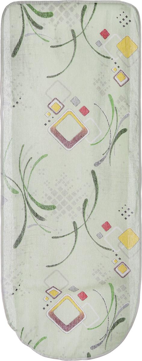 Чехол для гладильной доски Eva Квадраты, цвет: салатовый, 125 х 47 смЕ13_салатовый квадратЧехол Eva Квадраты, выполненный из хлопка с поролоновым слоем, продлит срок службы вашей гладильной доски. Чехол снабжен стягивающим шнуром, при помощи которого вы легко отрегулируете оптимальное натяжение чехла и зафиксируете его на рабочей поверхности гладильной доски. Размер чехла: 125 х 47 см. Максимальный размер доски: 116 х 40 см.