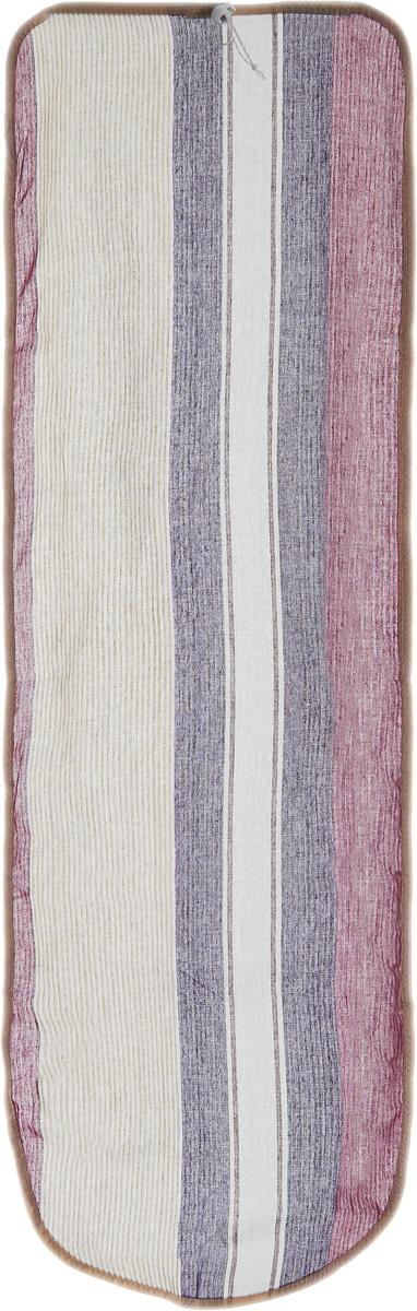 Чехол для гладильной доски Eva Detalle, цвет: фиолетовый, фуксия, 120 см х 37 смЕ1302_фиолетовый в полоскуЧехол для гладильной доски Eva Detalle, выполненный из хлопка с подкладкой из мягкого войлока, предназначен для защиты или замены изношенного покрытия гладильной доски. Из войлочного полотна вы можете вырезать подкладку любого размера, подходящую именно для вашей доски. Чехол препятствует образованию блеска и отпечатков металлической сетки гладильной доски на одежде. Этот качественный чехол обеспечит вам легкое глажение. Размер чехла: 120 см x 37 см. Размер войлочного полотна: 130 см х 52 см. Размер доски, для которой предназначен чехол: 115 см x 32 см.