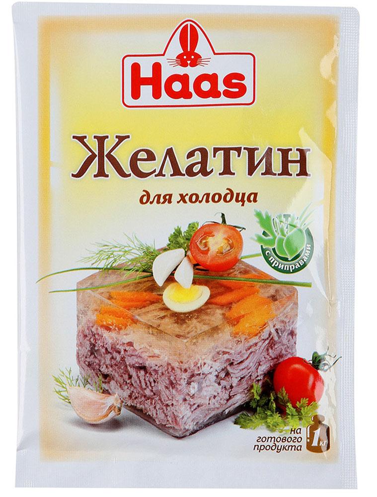 Haas желатин с приправами для холодца, 25 г23508-PЖелатин с приправами обеспечивает блюду сбалансированный вкус и простоту в приготовлении. Холодец больше не требует длительной варки. Сварите мясо, добавьте желатин для холодца, поставьте застывать.