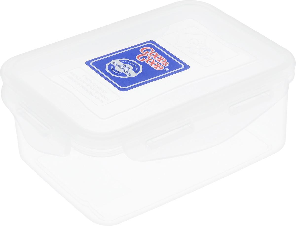 Контейнер пищевой Good&Good, цвет: прозрачный, 800 мл370021402-2/2-2НПрямоугольный контейнер Good&Good изготовлен из высококачественного полипропилена и предназначен для хранения любых пищевых продуктов. Благодаря особым технологиям изготовления, лотки в течении времени службы не меняют цвет и не пропитываются запахами. Крышка с силиконовой вставкой герметично защелкивается специальным механизмом. Контейнер Good&Good удобен для ежедневного использования в быту. Можно мыть в посудомоечной машине и использовать в микроволновой печи. Размер контейнера (с учетом крышки): 16,5 х 11 х 7,5 см.