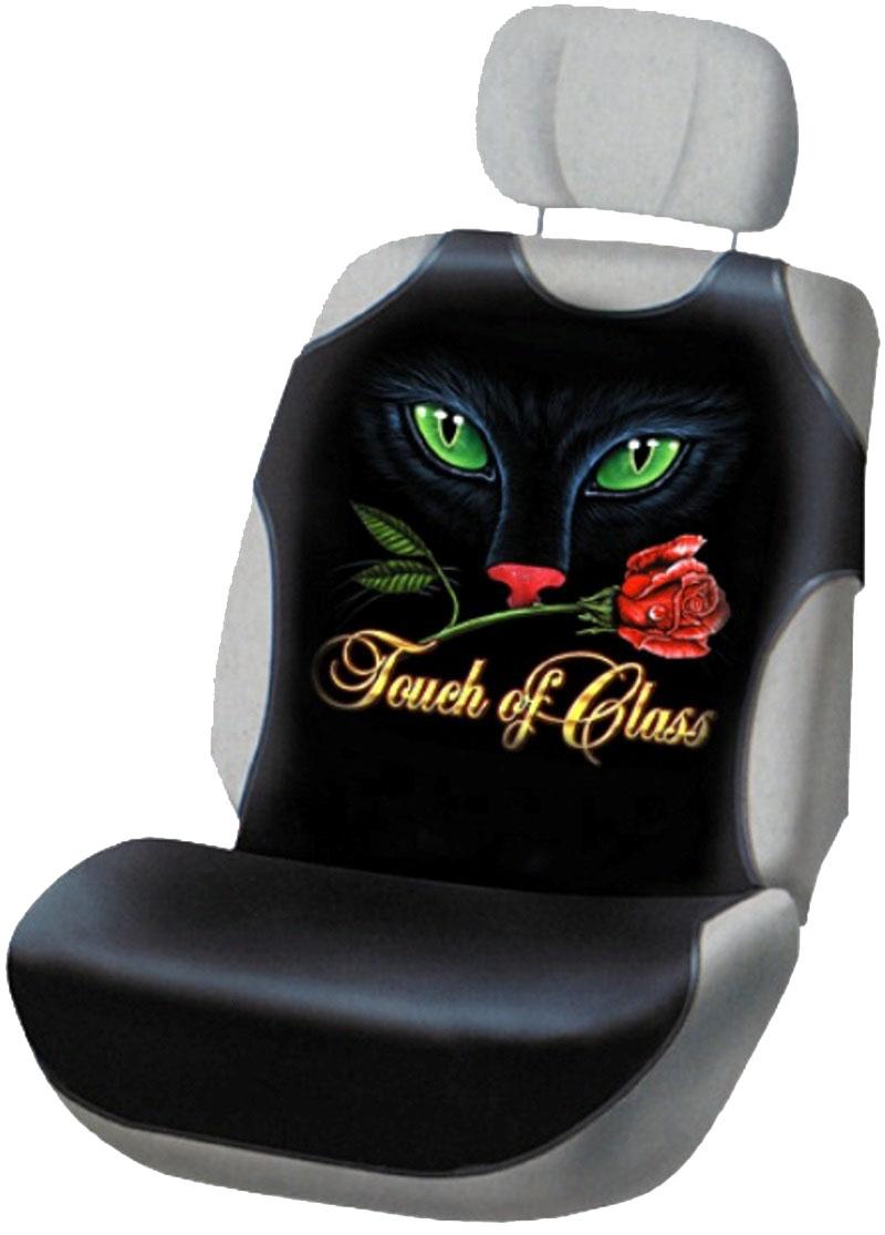 Чехлы на сиденье Антей Кошка с розой, маечка, цвет: черный, 2 штА0025/14Чехлы-маечки подходят на любое автокресло. Они выполнены из триплированного материала. Триплированный материал-это трехслойный материал, верхним слоем которого является, как правило, ткань (хлопок). Вторым слоем служит поролон, который удерживает форму чехла. В качестве третьего слоя используется подкладочный материал. Таким образом, получается чехол, который не сминается, держит форму и не растягивается. Рисунок также выполнен по уникальной технологии печати эко-чернилами, что обеспечивает ему защиту от истираемости при длительной эксплуатации майки и даже многократной стирке. Плюсом наших изделий является то, что они, в отличие от синтетических чехлов-маек, изготовлены из натурального материала - хлопка, который гораздо приятнее для человеческого тела. В комплект входят 2 одинаковых чехла на передние кресла.
