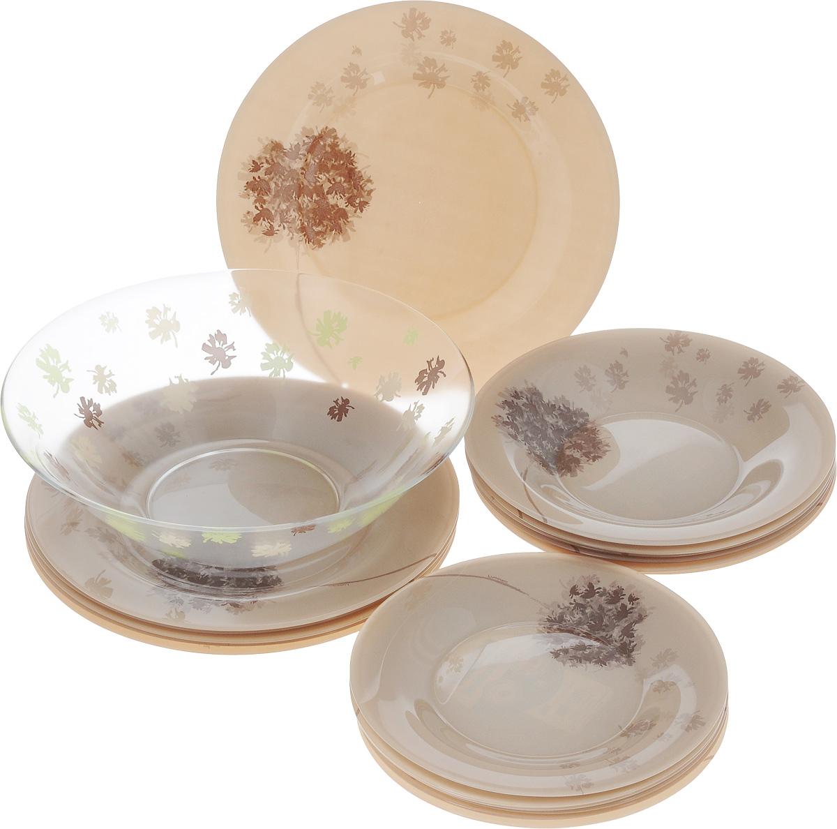 Набор столовой посуды Luminarc Stella Chocolat, 19 предметовJ1917Набор Luminarc Stella Chocolat состоит из 6 суповых тарелок, 6 обеденных тарелок, 6 десертных тарелок и салатницы. Изделия выполнены из ударопрочного стекла, имеют оригинальный дизайн и классическую круглую форму. Посуда отличается прочностью, гигиеничностью и долгим сроком службы, она устойчива к появлению царапин и резким перепадам температур. Такой набор прекрасно подойдет как для повседневного использования, так и для праздников или особенных случаев. Набор столовой посуды Luminarc Stella Chocolat - это не только яркий и полезный подарок для родных и близких, а также великолепное дизайнерское решение для вашей кухни или столовой. Можно мыть в посудомоечной машине и использовать в микроволновой печи. Диаметр суповой тарелки: 21,5 см. Высота суповой тарелки: 3,2 см. Диаметр обеденной тарелки: 25 см. Высота обеденной тарелки: 1,8 см. Диаметр десертной тарелки: 19 см. Высота десертной...