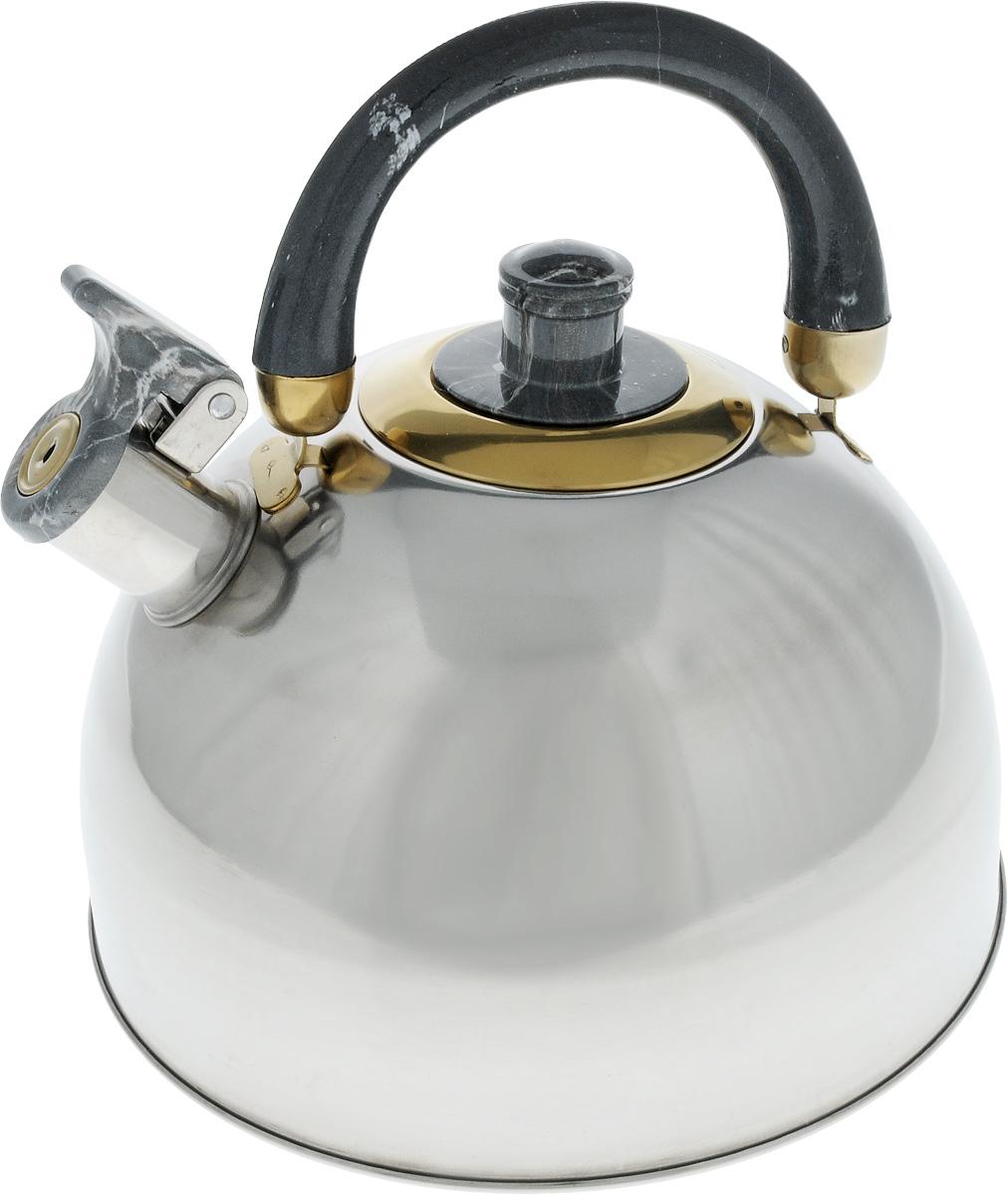 Чайник Bohmann Lite со свистком, цвет: темно-серый, 4,5 л643BHLЧайник Bohmann Lite изготовлен из коррозионностойкой стали с зеркальной полировкой. Это материал, зарекомендовавший себя как идеально подходящий для изготовления кухонной посуды, столовых приборов и аксессуаров. Прочность, надежность, стойкость к кислотам и привлекательный внешний вид - основные свойства этого материала. Подвижная ручка, выполненная из термостойкого пластика под мрамор, обеспечивает комфортную эксплуатацию. Носик чайника оборудован свистком, который громким сигналом оповестит о закипании воды. Серия Lite - это посуда из стали, легкая и экономичная. Доступна для широкого круга потребителей, оптимальна по цене и качеству. Подходит для любой кухни, привлекательна по своим характеристикам, цене и практичности. Чайник подходит для электрических, газовых и стеклокерамических плит. Изделие можно мыть в посудомоечной машине. Диаметр (по верхнему краю): 8,5 см. Диаметр основания: 22 см. ...