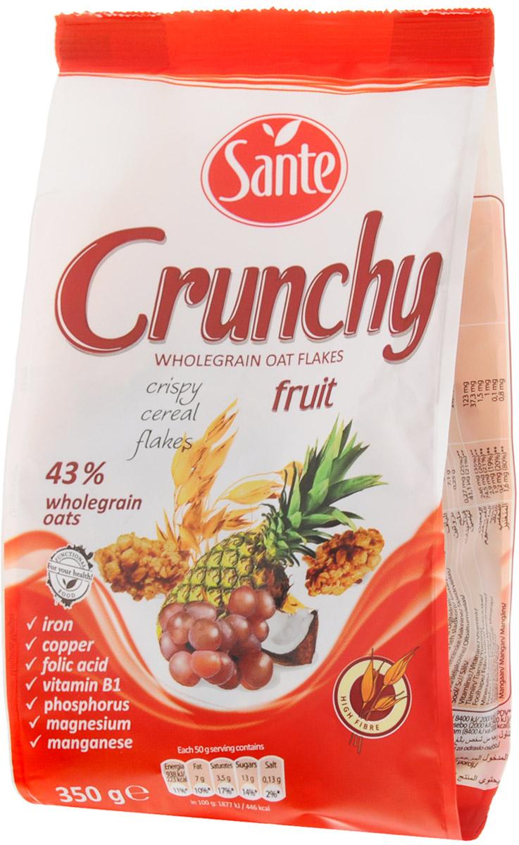 Sante Crunchy хрустящие овсяные хлопья с фруктами, 350 г5900617002211Хрустящие овсяные хлопья с фруктами Sante Crunchy - это питательная смесь хрустящих, золотистых, нежно обжаренных овсяных хлопьев. Продукт обеспечивает сбалансированное питание за счет полезных ингредиентов: белок, клетчатка, растительные жиры с высоким содержанием полезных жирных кислот, витаминов, микро- и макроэлементов, которые помогают поддерживать энергию и тонус в течение всего дня. Основной элемент Crunchy - это цельнозерновой овес, который имеет более высокую питательную ценность по сравнению с другими злаками, такими как пшеница и рожь. Зерно овса богато белком, незаменимыми аминокислотами (особенно лизином, который отсутствует в других зерновых). Содержание фосфора, меди и фолиевой кислоты способствует укреплению костей и зубов. Медь также улучшает процесс обмена веществ, а фолиевая кислота способствует правильному функционированию иммунной системы. Способ приготовления: достаточно добавить молоко, кефир, сок или йогурт, и ваш завтрак...
