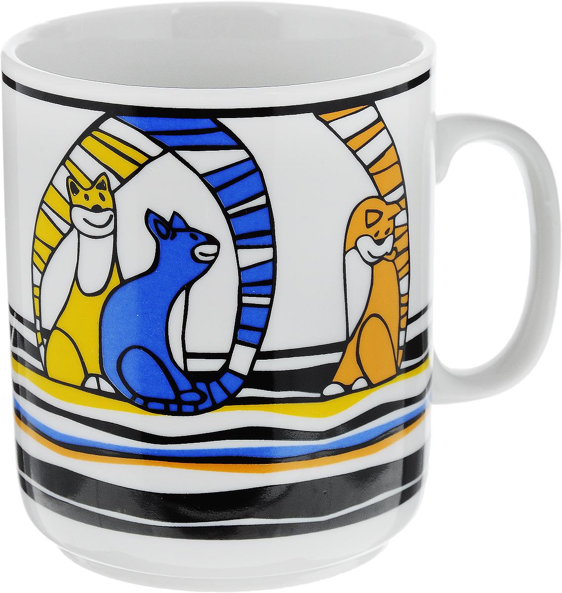 Кружка Фарфор Вербилок Коты, цвет: желтый, синий, оранжевый, 300 мл9272480_желтый, синий, оранжевыйКружка Фарфор Вербилок Коты способна скрасить любое чаепитие. Изделие выполнено из высококачественного фарфора. Посуда из такого материала позволяет сохранить истинный вкус напитка, а также помогает ему дольше оставаться теплым. Диаметр по верхнему краю: 8 см. Высота кружки: 9,5 см.