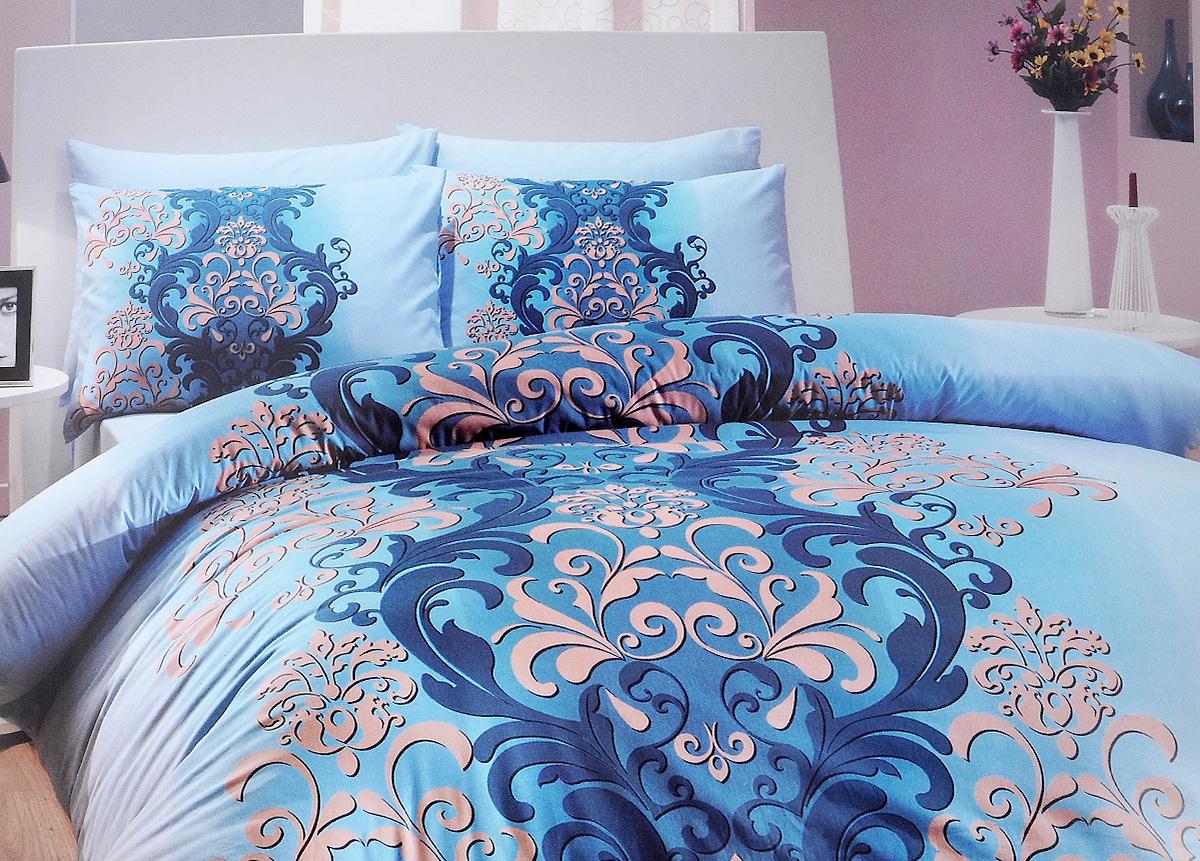 Комплект белья Hobby Home Collection Almeda, 1,5-спальный, наволочки 50x70, 70x70, цвет: голубой1501000202Комплект белья Hobby Home Collection Almeda состоит из простыни, пододеяльника и 2 наволочек. Белье выполнено из ранфорса - это ткань из 100% натурального хлопка, которая легко стирается, практичнее льна, подстраивается под температуру воздуха - зимой на таком белье тепло, летом - прохладно. Мягкость и нежность материала создает чувство комфорта и защищенности. У хлопка хорошая проводимость тепла, поэтому постельное белье из него может надолго оставаться свежим. Постельное белье с оригинальными дизайнами станет отличным выбором для людей, стремящихся всегда быть стильными.
