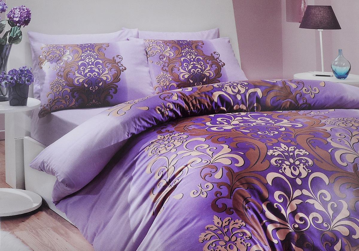 Комплект белья Hobby Home Collection Almeda, 1,5-спальный, наволочки 50x70, 70x70, цвет: фиолетовый1501000205Комплект белья Hobby Home Collection Almeda состоит из простыни, пододеяльника и 2 наволочек. Белье выполнено из ранфорса - это ткань из 100% натурального хлопка, которая легко стирается, практичнее льна, подстраивается под температуру воздуха - зимой на таком белье тепло, летом - прохладно. Мягкость и нежность материала создает чувство комфорта и защищенности. У хлопка хорошая проводимость тепла, поэтому постельное белье из него может надолго оставаться свежим. Постельное белье с оригинальными дизайнами станет отличным выбором для людей, стремящихся всегда быть стильными.