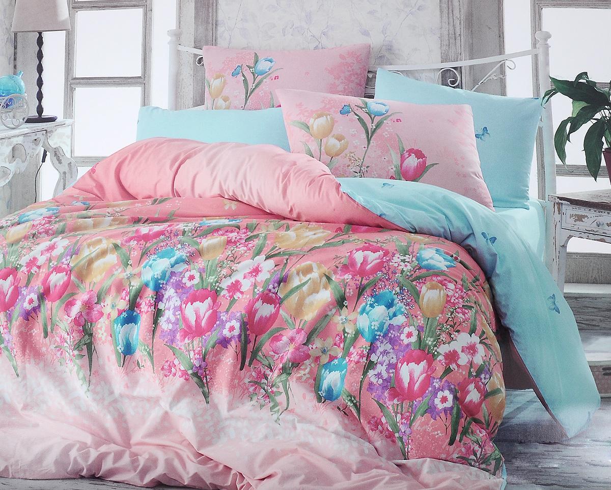 Комплект белья Hobby Home Collection Bianca, 1,5-спальный, наволочки 50x70, 70x70, цвет: розовый, голубой1501001101Комплект белья Hobby Home Collection Bianca состоит из простыни, пододеяльника и 2 наволочек. Белье выполнено из ранфорса - это ткань из 100% натурального хлопка, которая легко стирается, практичнее льна, подстраивается под температуру воздуха - зимой на таком белье тепло, летом - прохладно. Мягкость и нежность материала создает чувство комфорта и защищенности. У хлопка хорошая проводимость тепла, поэтому постельное белье из него может надолго оставаться свежим. Постельное белье с оригинальными дизайнами станет отличным выбором для людей, стремящихся всегда быть стильными.