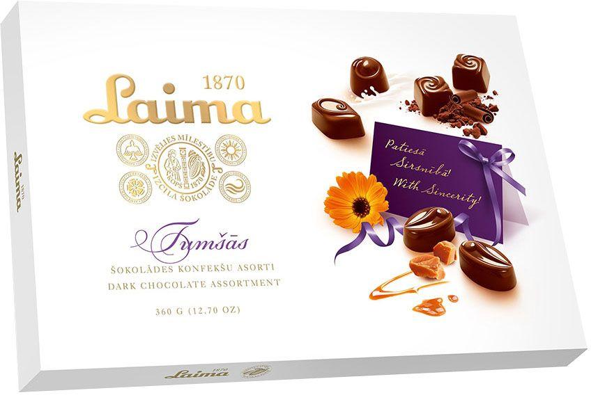 Laima Ассорти конфет в темном шоколаде, 360 гP140015140Ассорти конфет в темном шоколаде 4 разные формы 3 начинки-молочный крем,крем-какао,крем-ирис-тоффи)