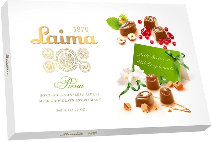 Laima Ассорти конфет в молочном шоколаде, 360 г4750001008104Ассорти конфет в молочном шоколаде 4 разные формы 3 начинки-молочный крем,крем-какао,крем-ирис-тоффи)