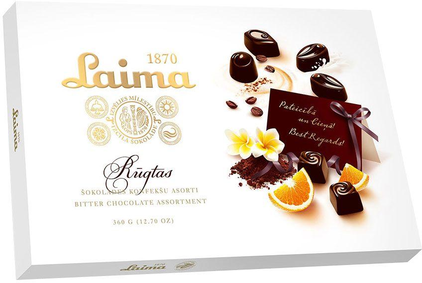 Laima Ассорти конфет в горьком шоколаде, 360 гЗ140301209Ассорти конфет в горьком шоколаде 4 разные формы 3 начинки-молочный крем,крем-какао,крем-ирис-тоффи)