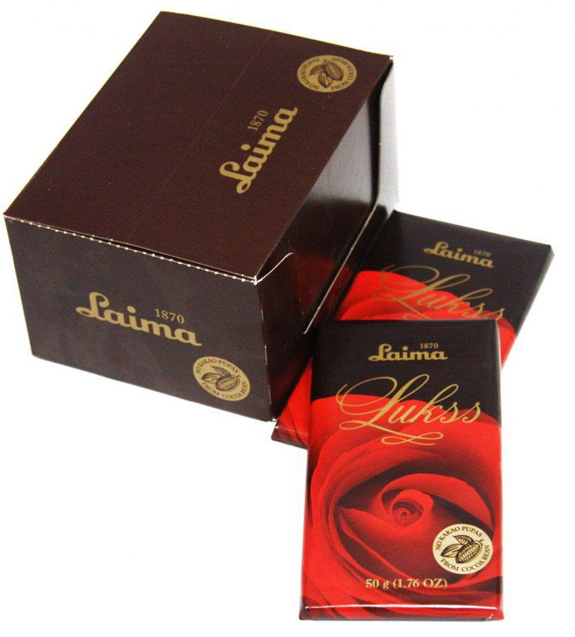 Laima Люкс Роза темный шоколад, 50 г4750001110531Класический темный шоколад с содержанием какао 54%
