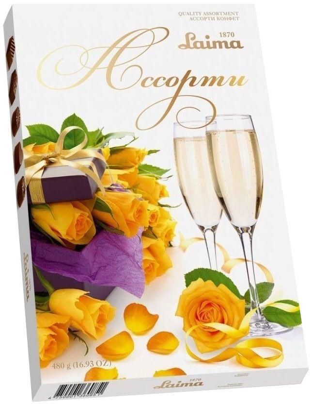 """Laima """"Желтые розы"""" Ассорти шоколадных конфет, 480 г P140208260"""