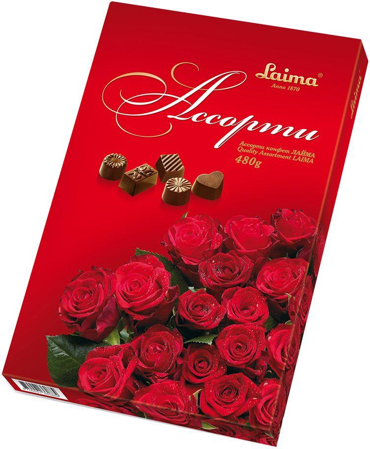 Laima Ассорти конфет в шоколаде Темные розы, 470 гP140106237Конфеты 5 разных форм и с 3-мя начинками:молочная помадка,фруктовое желе,крем-какао.В коробке европейского дизайна.