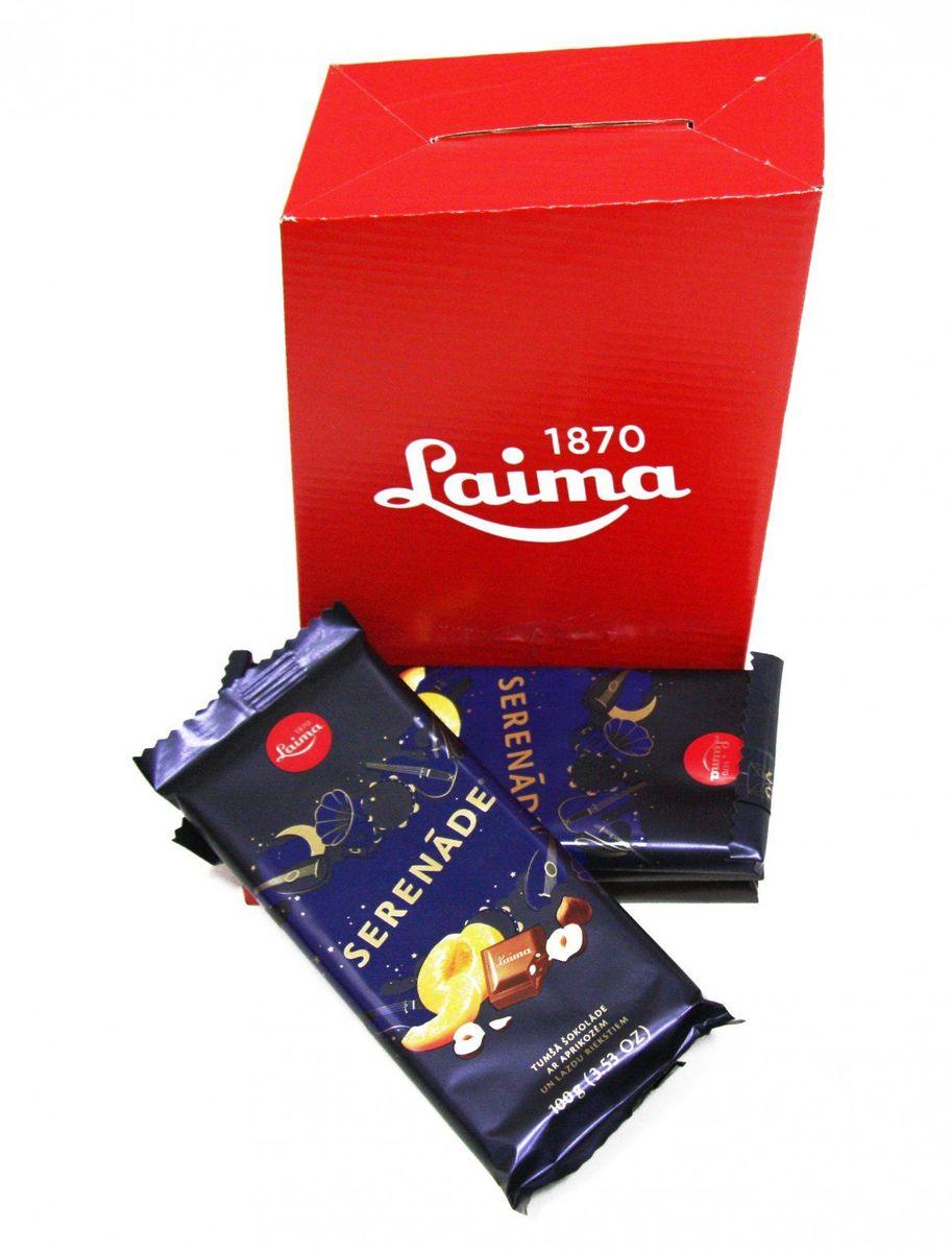 Laima Серенада с абрикосом и фундуком темный шоколад, 100 г4750001943498Темный шоколад с кусочками абрикоса и фундука