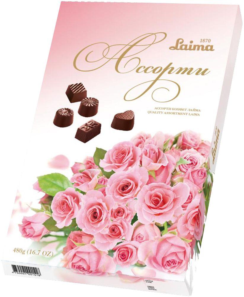 Laima Розовый букетАссорти шоколадных конфет, 480 гP140208244Конфеты 5 разных форм и с 3-мя начинками:молочная помадка,фруктовое желе,крем-какао.В коробке европейского дизайна.