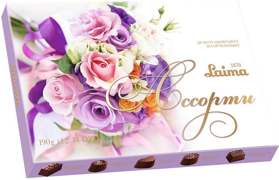 Laima Лиловый букет Ассорти карамельных конфет мини, 190 гP140208246Конфеты 5 разных форм и с 3-мя начинками: молочная помадка, фруктовое желе, крем-какао. В коробке европейского дизайна.