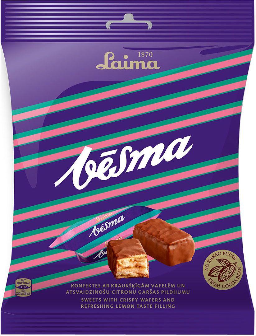 Laima Vesma глазированные вафельные конфеты с лимонным вкусом, 160 гP110810422Глазированные вафельные конфеты с лимонным вкусом Весма