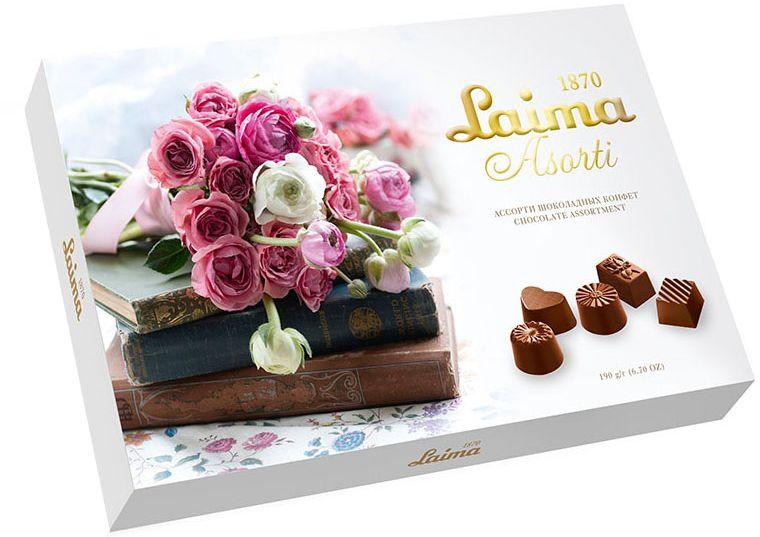 Laima Книги Ассорти шоколадных конфет, 190 гP140106325Конфеты 5 разных форм с 3-мя начинками: молочная помадка, фруктовое желе, крем-какао. В коробке европейского дизайна.