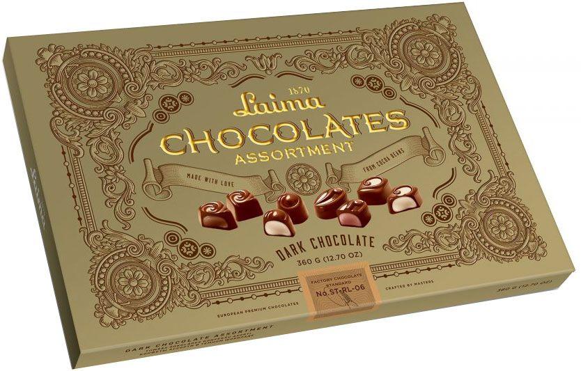 Laima Книги Ассорти конфет в темном шоколаде, 215 гP140106297Ассорти конфет в темном шоколаде 4 разные формы 3 начинки-молочный крем,крем-какао,крем-ирис-тоффи)