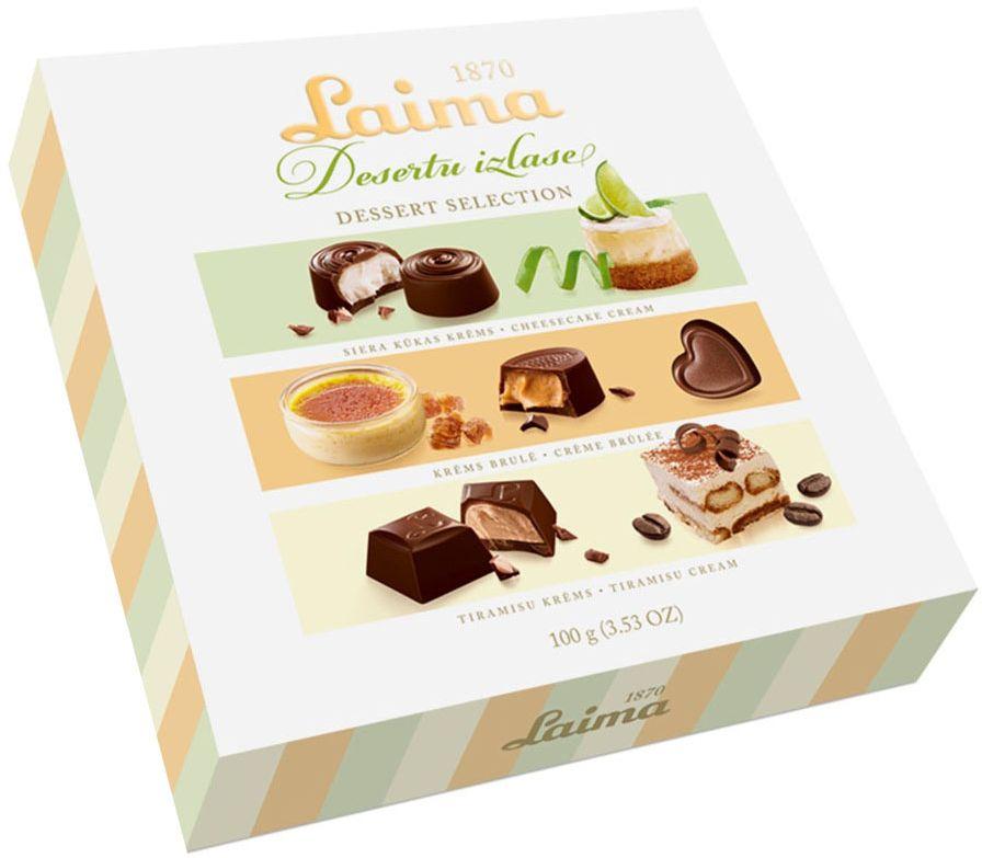 Laima Со вкусами самых популярных десертовАссорти шоколадных конфет, 100 гP140040011Элегантная коробочка ассорти конфет со вкусом 3-х десертов(Крем-брюле,тираммиссу,лимонный чизкейк).милый подарок всем на все случаи жизни.
