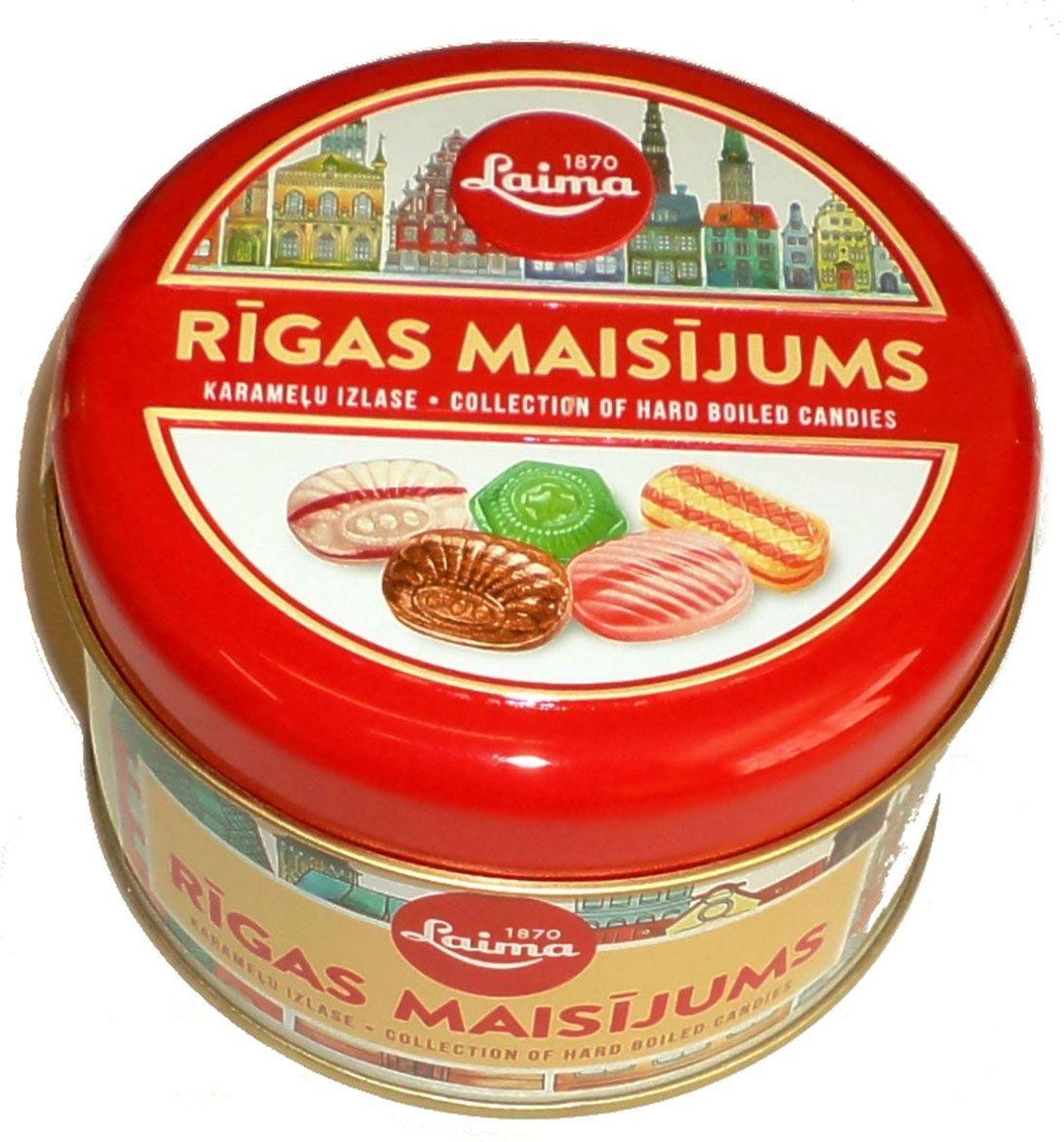 Laima Рижская смесь пять видов карамели в железной банке, 300 гH180001003Лакомство из РИГИ.Железная банка в которой 5 видов карамели с фруктовой начинкой,молочной,ореховой,леденцы