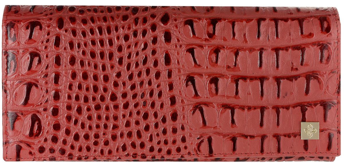 Портмоне женское Dimanche Loriсata, цвет: бледно-красный, бордовый. 543/8543/8_красныйСтильное женское портмоне Dimanche Loriсata выполнено из натуральной кожи с тиснением под рептилию. Изделие оформлено металлической пластинкой с логотипом бренда. Внутри расположены три вместительных отделения для купюр, отделение для мелочи на молнии и два открытых накладных кармана для мелких бумаг. Также внутри находятся восемь карманов для визитных и дисконтных карт, один из которых с сетчатым окошком. Изделие застегивается клапаном на кнопку. Портмоне упаковано в фирменную коробку.