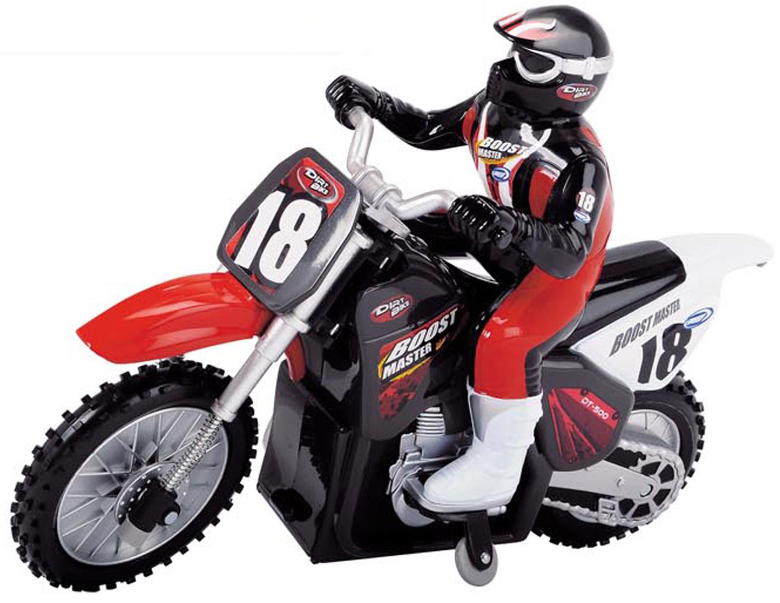 Dickie Toys Мотоцикл на радиоуправлении19420Радиоуправляемый мотоцикл Dickie Toys может разгонятся до 10 км/ч и непременно понравится Эта машина является уменьшенной копией настоящей машинки. Мощность ее составляет не более 10 мВт, а разнос каналов 50 кГц. С пульта управления возможно управлять многими функциями мотоцикла: турбоускорением для плавного разгона и торможением. Мотоцикл имеет полное радиоуправление во всех направлениях. Рабочая частота 2,4ГГц, а максимальный коэффициент усиления антенны 3 дБ Мотоцикл работает от 4 батареек напряжением 1,5V типа АА (входит в комплект). Пульт управления работает от 1 батарейки Крона (входит в комплект).
