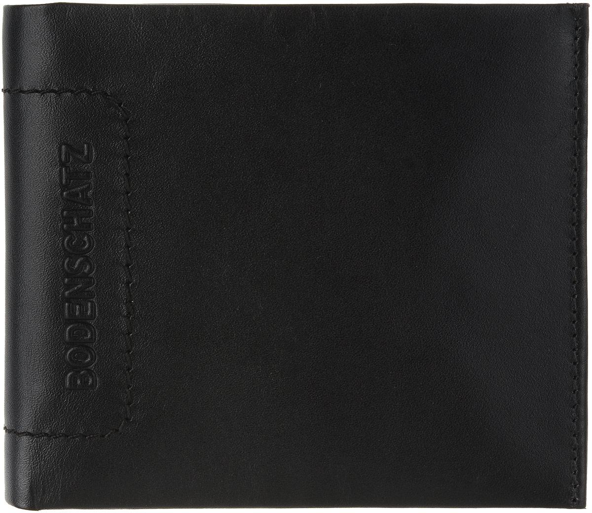 Кошелек мужской Bodenschatz, цвет: черный. 8-4988-498 blackМужской кошелек Bodenschatz выполнен из натуральной высококачественной кожи. Изделие раскладывается пополам. Внутри располагаются два отделения для купюр, шесть отделений для кредитных карт или визиток, два скрытых кармашка и отделение для мелочи на застежке-кнопке.