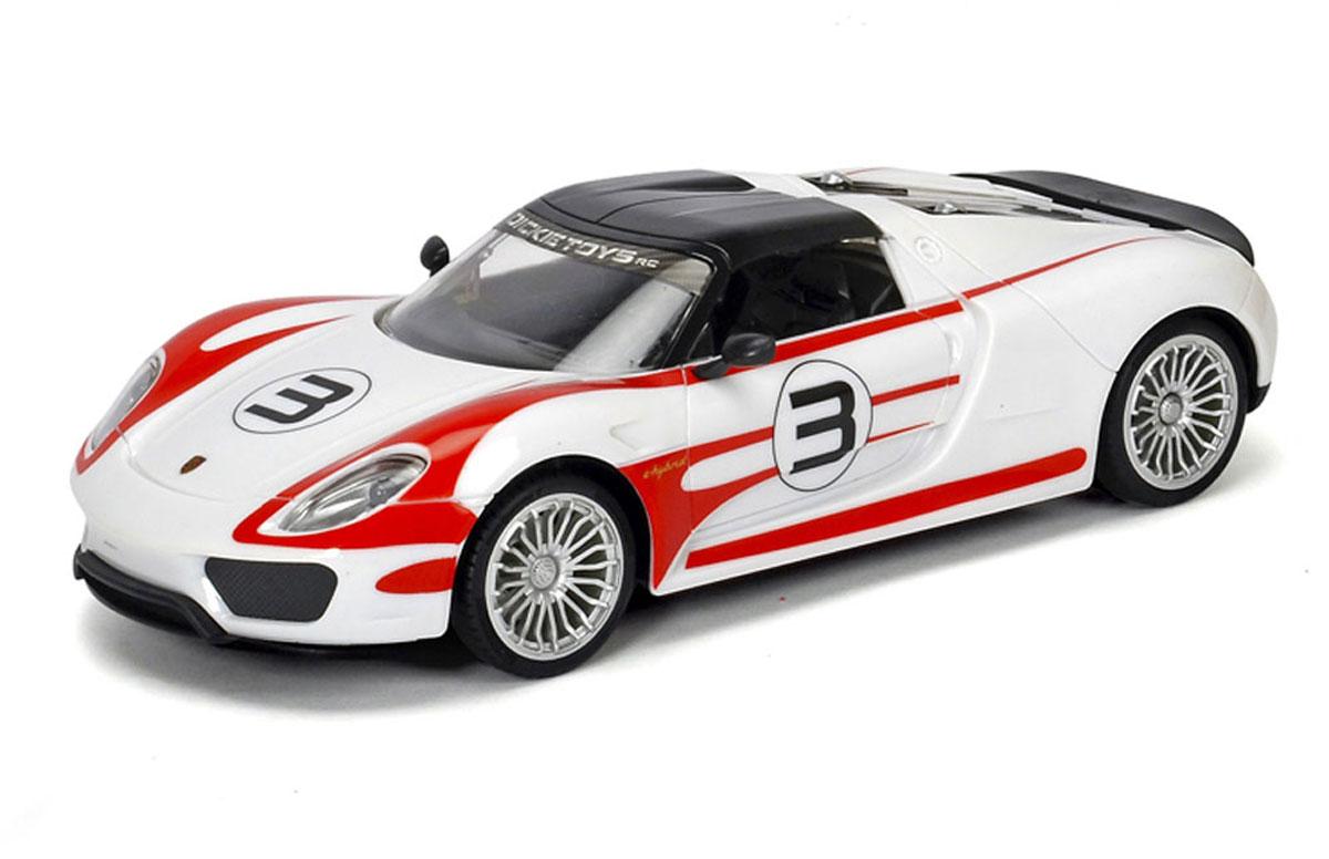 Dickie Toys Радиоуправляемая модель Porsche Spyder 91819075Радиоуправляемая модель Dickie Toys Porsche Spyder 918 - это высокоточная модель гибридного автомобиля с гоночными генами в масштабе 1:16. Разгон Porsche Spyder 918 - до 100 км/ч за 2,5 сек. Максимальная скорость 345 км/ч. Dickie Toys решила порадовать детей и их родителей, создав игрушечную копию на радиоуправлении. Игрушка создавалась в тесном сотрудничестве с компанией Porche. В машинке записан оригинальный звук мотора Porsche 918 Spyder. Кроме этого, были установлены шины Michelin, как и у оригинала. Модель имеет полный набор функций вождения, диски с подсветкой, звуковые эффекты, 2-х канальное управление, развивает скорость до 10 км/ч. Пульт управления работает на частоте 2,4 GHz. Для работы игрушки необходимы 5 батареек типа АА напряжением 1,5V (товар комплектуется демонстрационными). Для работы пульта управления необходима 1 батарейка типа Крона напряжением 9V (товар комплектуется демонстрационной).