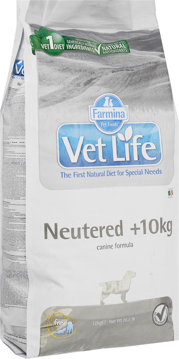 Корм сухой Farmina Vet Life для взрослых кастрированных или стерилизованных собак весом более 10 кг, диетический, 12 кг32027Корм сухой Farmina Vet Life - полноценное и сбалансированное питание для взрослых кастрированных или стерилизованных собак весом более 10 кг для контроля веса и профилактики развития мочекаменной болезни. Рацион с низким содержанием жира и высоким содержанием белка обеспечивает поддержание оптимальной массы тела. L-карнитин стимулирует окисление жиров и преобразование их в энергию. Низкое содержание углеводов снижает вероятность развития диабета. Сульфат кальция способствует контролю pH мочи и снижает риск развития мочекаменной болезни. Рекомендации по кормлению: использовать по назначению ветеринарного врача. Товар сертифицирован.