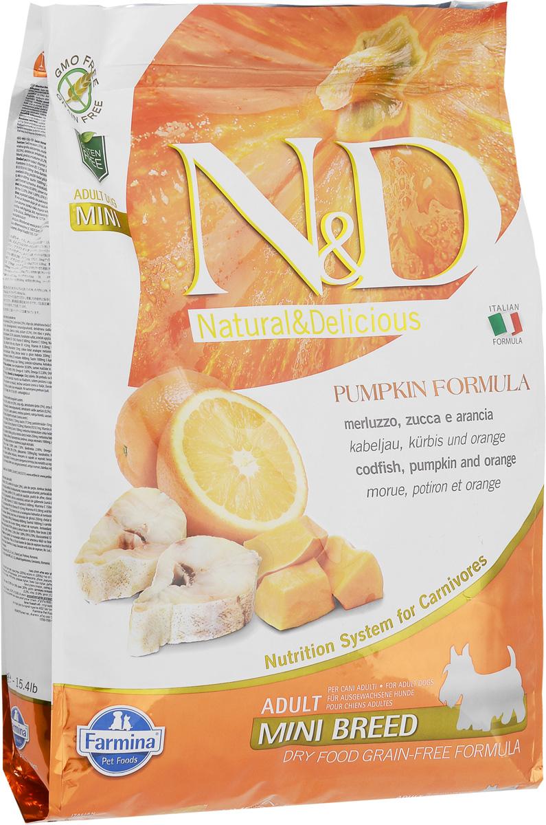 Корм сухой Farmina N&D для собак мелких пород, беззерновой, с треской, тыквой и апельсином, 7 кг33666Сухой корм Farmina N&D является беззерновым и сбалансированным питанием для собак мелких пород. Изделие имеет высокое содержание витаминов и питательных веществ. Сухой корм содержит натуральные компоненты, которые необходимы для полноценного и здорового питания домашних животных. Товар сертифицирован.
