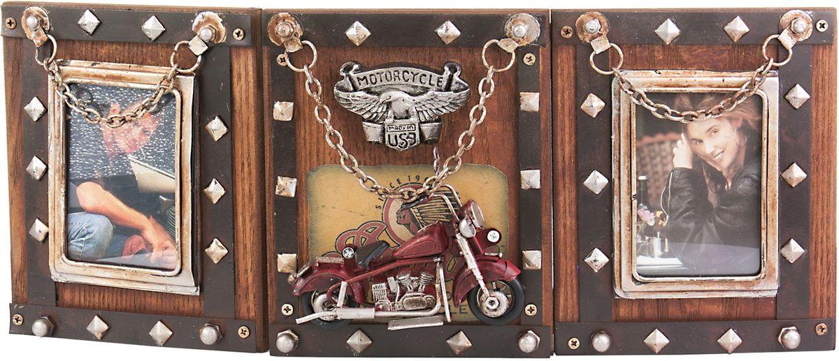 Фоторамка двойная Platinum Мотоцикл, цвет: коричневый. 1410F-2521410F-252