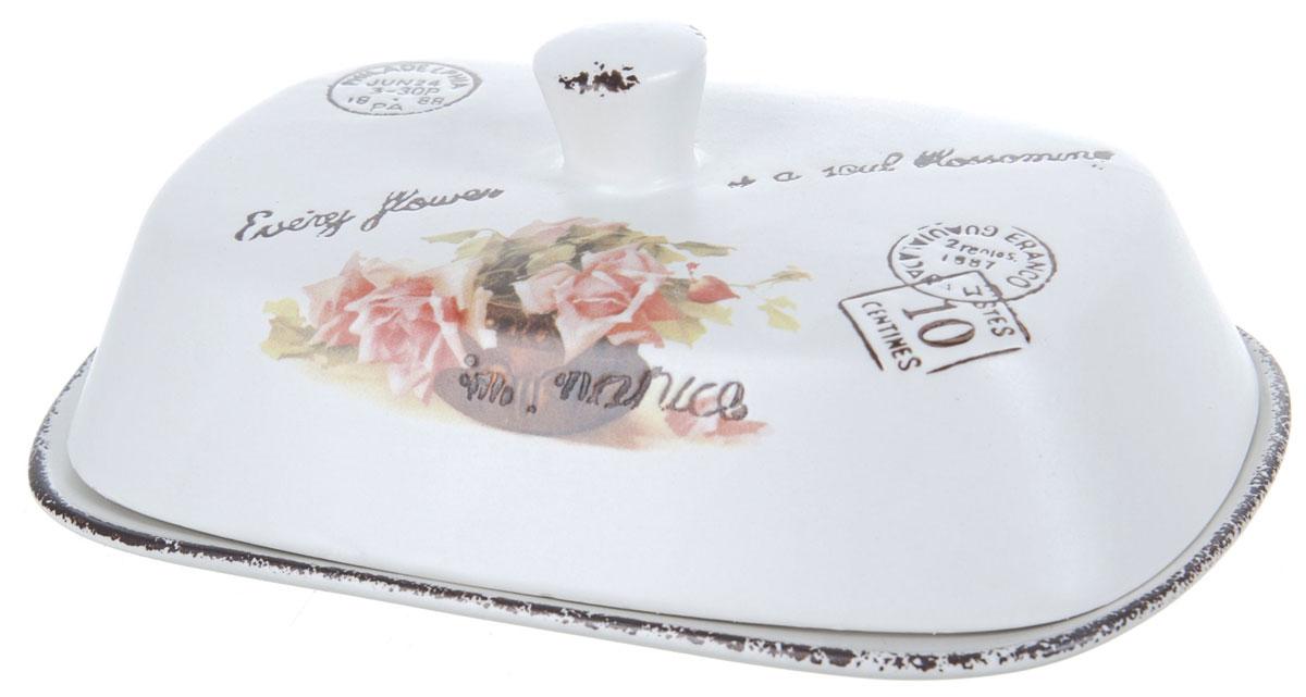 Масленка ENS Group Чайная роза. 17501531750153Масленка Чайная роза, изготовленная из керамики, предназначена для красивой сервировки и хранения масла. Она состоит из крышки с удобной ручкой и подноса. Масло в ней долго остается свежим, а при хранении в холодильнике не впитывает посторонние запахи. Гладкая поверхность обеспечивает легкую чистку. Можно мыть в посудомоечной машине.