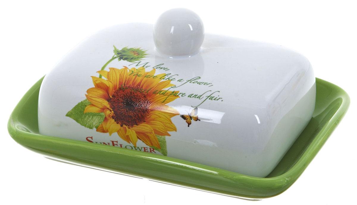 Масленка ENS Group Подсолнух. 25204602520460Масленка Подсолнух, изготовленная из керамики, предназначена для красивой сервировки и хранения масла. Она состоит из крышки с удобной ручкой и подноса. Масло в ней долго остается свежим, а при хранении в холодильнике не впитывает посторонние запахи. Гладкая поверхность обеспечивает легкую чистку. Можно мыть в посудомоечной машине.