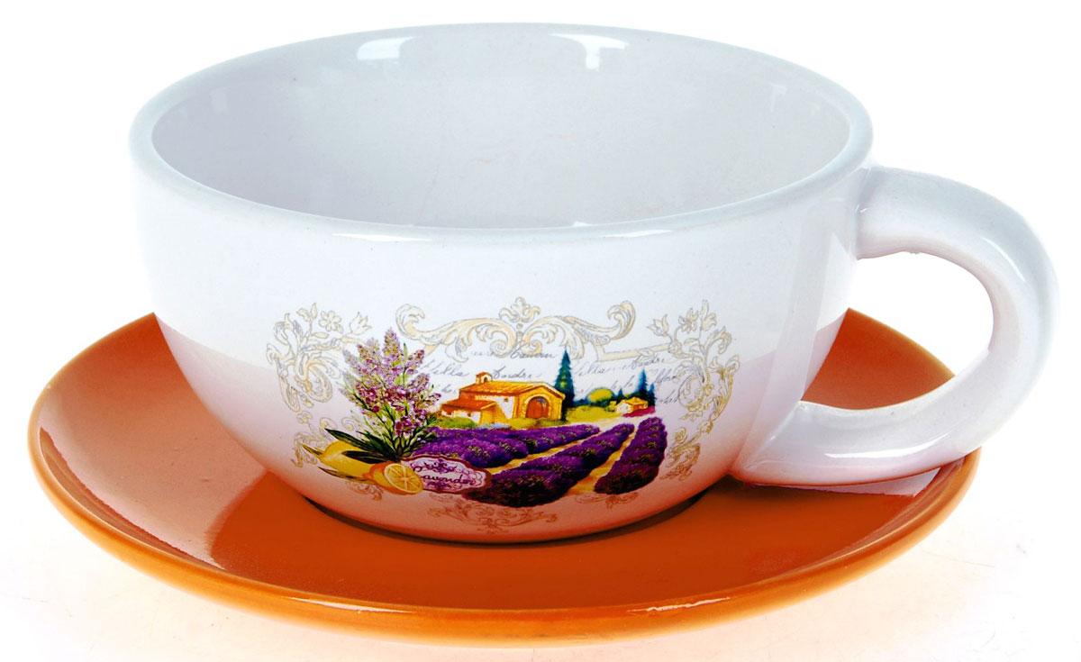 Кружка суповая ENS Group Прованс, с блюдцем, 500 мл. L2430711L2430711Кружка с блюдцем ENS Group Прованс изготовленная из высококачественной керамики с изящным рисунком, подойдет для красивой сервировки первых блюд. Объем кружки: 500 мл. Диаметр кружки (по верхнему краю): 13 см. Диаметр блюдца: 17 см. Можно мыть в посудомоечной машине.