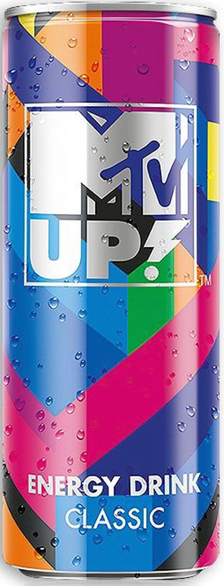 MTV UP! Классик напиток энергетический газированный, 0,25 л0034700005905Энергетический напиток MTV UP! Classic содержит натуральный кофеин, L-карнитин, экстракт семян гуараны и экстракт женьшеня. А также витамины C, B6, B12. Тонизирующий напиток не содержит консервантов.