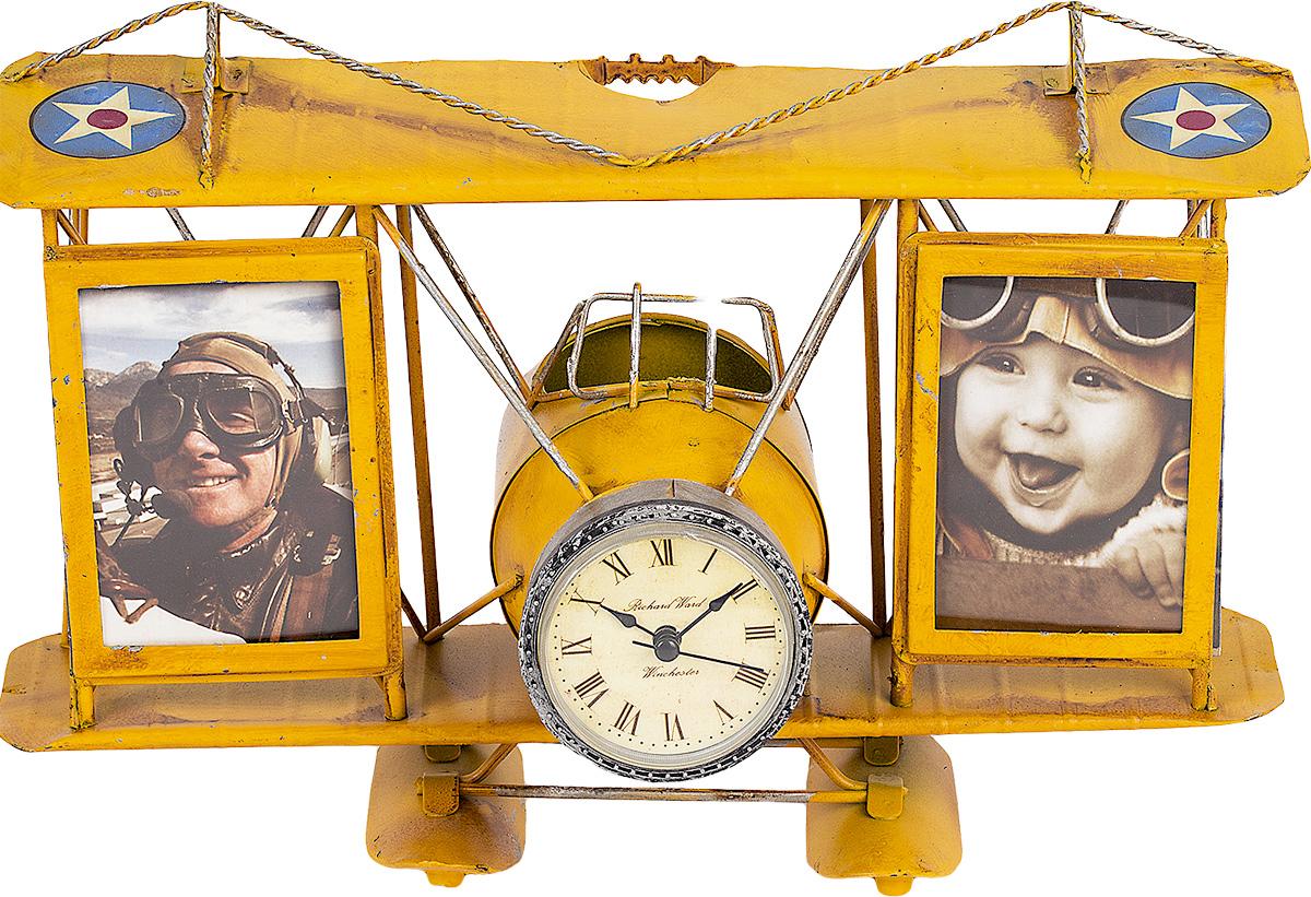 Фоторамка Platinum Часы-Аэроплан с подставкой для ручек, цвет: желтый, 2 шт. 1404B-13061404B-1306